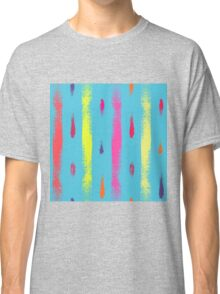 Dry brush hand drawn sketch artsy background neon colors Classic T-Shirt