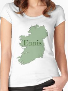 Ennis Ireland with Map of Ireland Women's Fitted Scoop T-Shirt