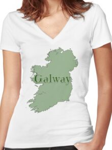 Galway Ireland with Map of Ireland Women's Fitted V-Neck T-Shirt