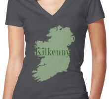 Kilkenny Ireland with Map of Ireland Women's Fitted V-Neck T-Shirt
