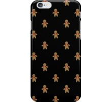 Gingerbread Pattern-Black iPhone Case/Skin