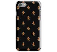 Gingerbread Pattern-Black iPhone Case/Skin