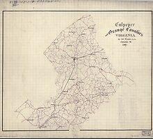 Civil War Maps 0337 Culpeper and Orange Counties Virginia by wetdryvac