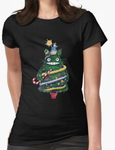 Totoro Christmas Tree Womens Fitted T-Shirt