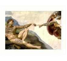 Creation of Adam tattooed Art Print