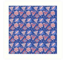 90's Dinosaur Pattern - Rose Quartz and Serenity version Art Print