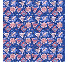 90's Dinosaur Pattern - Rose Quartz and Serenity version Photographic Print