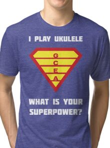 I PLAY UKULELE WHAT IS YOUR SUPERPOWER? Red/Yellow on Blue Parody Design Tri-blend T-Shirt