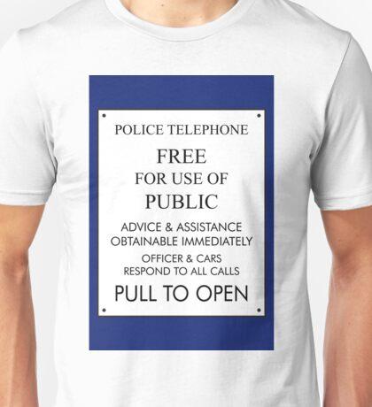 Tardis Sign/ Policebox Notice Unisex T-Shirt