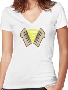 My little Pony - Cheese Sandwich Cutie Mark V3 Women's Fitted V-Neck T-Shirt