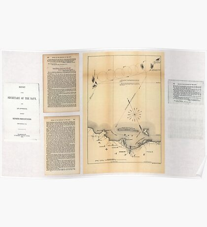 Civil War Maps 2085 Map of the defeat of the Confederate ship Alabama by the US steamer Kearsarge on June 19 1864 off Cherbourg France Poster