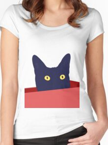 Black Cat Box Women's Fitted Scoop T-Shirt