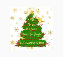 Christmas Tree sentiment art, golden snowflakes Womens Fitted T-Shirt