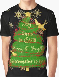 Christmas Tree, Joy, Peace on Earth, text art Graphic T-Shirt