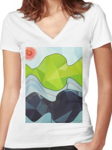 The Poly Landscape Women's Fitted V-Neck T-Shirt
