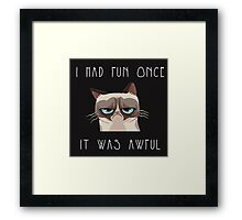 I had fun once, it was awful. Cat Framed Print