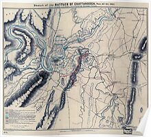 Civil War Maps 1648 Sketch of the battles of Chattanooga Nov 23-26 1863 Poster
