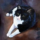 Black and White Cat portrait by Brenda Thour