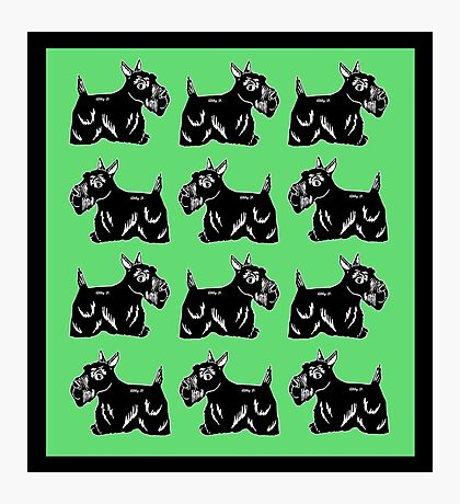 Scottie Dogs Green & Black Pattern Photographic Print