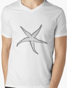 Black and White Starfish Mens V-Neck T-Shirt