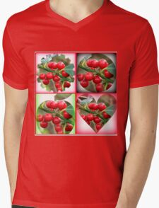 Red Berries Fancy Shapes Collage Mens V-Neck T-Shirt