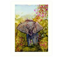 Springtime Elephant In Alcohol Ink Art Print
