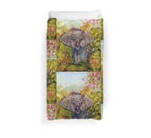 Springtime Elephant In Alcohol Ink Duvet Cover