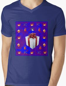 Christmas in Blue - Gift and Bells Christmas Card Mens V-Neck T-Shirt