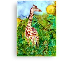 Giraffe In the Brush Canvas Print