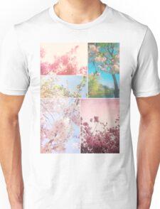 Spring Floral Sakura Collage Pink White Cherry Blossoms Unisex T-Shirt