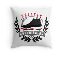 Sneaker Connoisseur-J11 Bred Throw Pillow