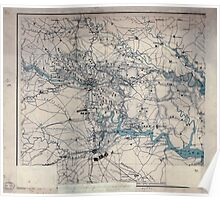 Civil War Maps 0506 Hughes topographical military map of Richmond and Petersburgh sic cities with adjacent country in perspective showing the rebel fortifications Poster
