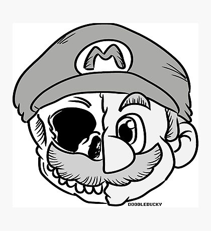 Mario Skull Photographic Print