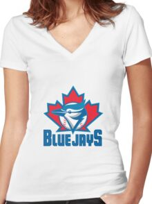 Toronto Blue Jays Logo Women's Fitted V-Neck T-Shirt