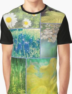 Floral Collage Aster Muscari Waterlily Bamboo Daffodil Park Graphic T-Shirt