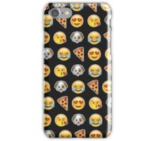 Emoji Pattern Mix Black iPhone Case/Skin