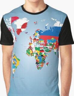 Traveler World Map Flags  Graphic T-Shirt