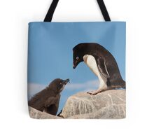 "Adelie Penguin and Chick ~ ""Well......if you say so dad"" Tote Bag"
