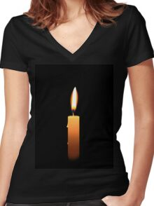 Candle Light Women's Fitted V-Neck T-Shirt