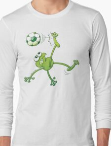 Frog Executing a Bycicle Kick with a Soccer Ball Long Sleeve T-Shirt