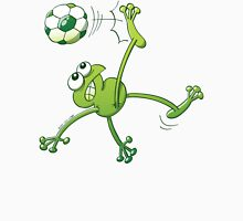 Frog Executing a Bycicle Kick with a Soccer Ball Womens Fitted T-Shirt