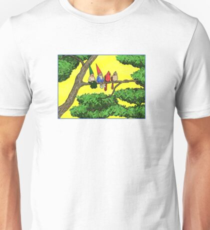 Gnomes and cardinals, perched on a branch, enjoying the air Unisex T-Shirt