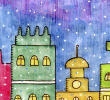 Watercolor city. Old buildings Sticker