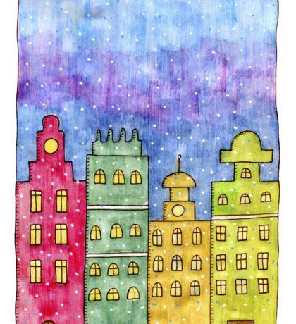 Watercolor city. Old buildings Sticker