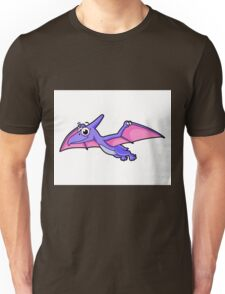 Cute illustration of a flying pterodactyl. Unisex T-Shirt
