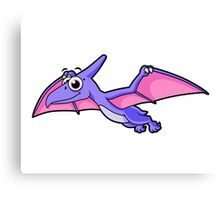 Cute illustration of a flying pterodactyl. Canvas Print