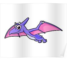 Cute illustration of a flying pterodactyl. Poster