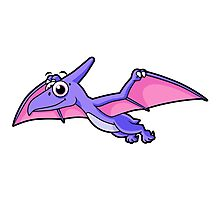 Cute illustration of a flying pterodactyl. Photographic Print