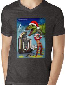Jurassic Christmas Song Mens V-Neck T-Shirt