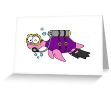 Illustration of a Loch Ness Monster scuba diver. Greeting Card